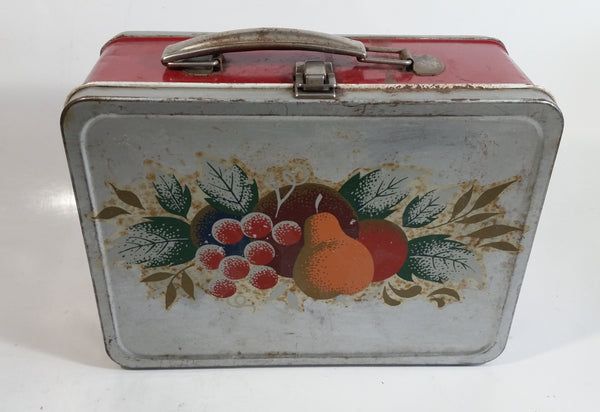 Vintage Thermos Brand Fruit Themed Red and Silver Tin Metal Lunch Box
