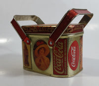1988 Coca Cola Coke Soda Pop Vintage Advertising Themed Picnic Basket Shaped Tin Metal Container with Handles