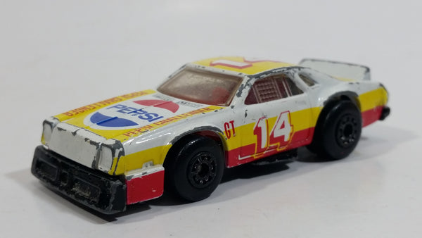 1988 1985 Matchbox Superfast Chevy Pro Stocker #14 Pepsi Challenger No. 34 White and Yellow Die Cast Toy Race Car Vehicle