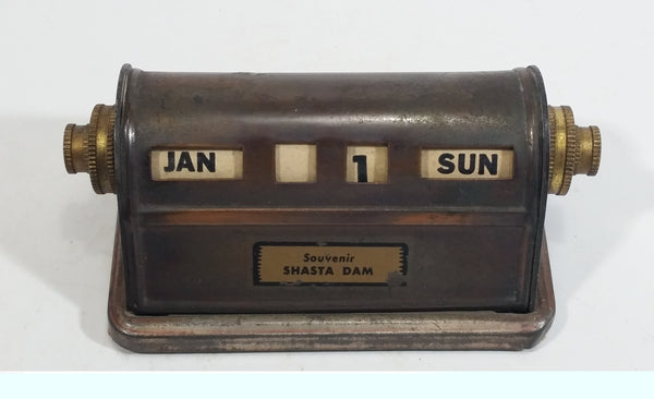 Vintage Shasta Dam California Brass Roll Date Calendar Souvenir Travel Collectible