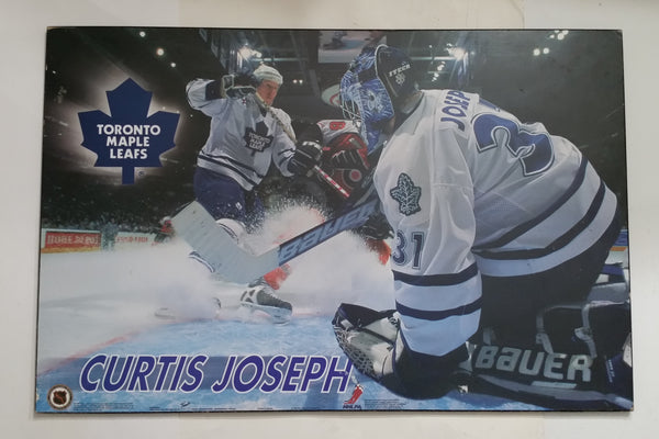 "2000 NHL Ice Hockey Toronto Maple Leafs Goaltender Curtis Joseph Large 22 1/2"" x 34"" Hardboard Wall Plaque"