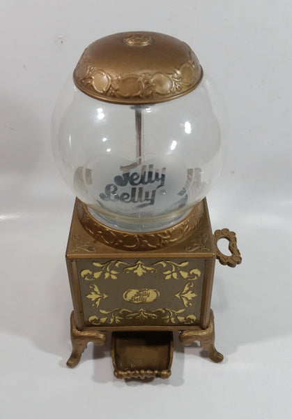 "2007 Jelly Belly Gold Colored Ornate 9"" Tall Candy Jellybean Dispenser Gumball Machine"