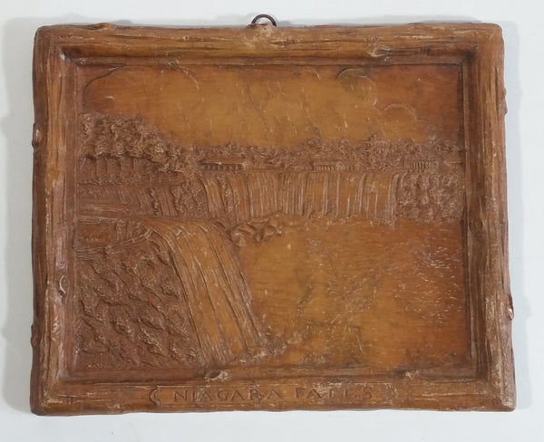 Vintage Niagara Falls Faux Wood Carved Wall Plaque