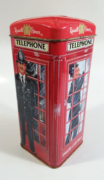 "Russel Stover English Caramels 7"" Tall Red British London England Phone Booth Shaped Tin Metal Coin Bank Canister"