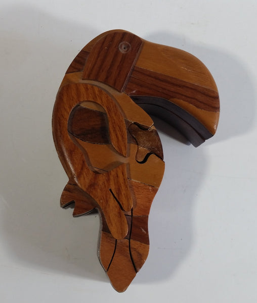 Parque Nacional de Tortuguro Costa Rica Parrot Bird Shaped Wooden Puzzle Stach Trinket Box Tourism Souvenir Collectible