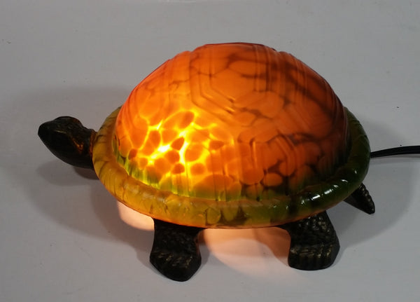Amber Glass Shelled Bronze Finish Turtle Lamp
