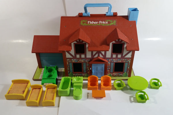 Vintage Fisher Price Little People Brown Tudor House Toy with Opening Garage Door and Doorbell with Furniture