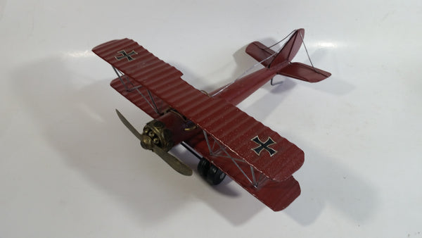 Vintage Style German Red Baron Bi-Plane WWII Large Tin Metal Military Airplane with Iron Cross Details