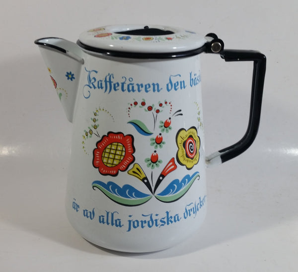 "Swedish Berggren Enamelware Coffee Pot Kettle That Says ""Kaffetaren den basta ar av alla jordiska drycker"""