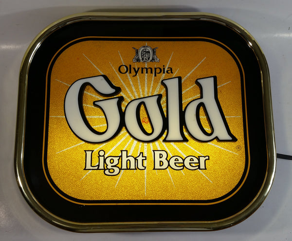 Vintage Olympia Gold Light Beer Light Up Illuminated Plugin Sign