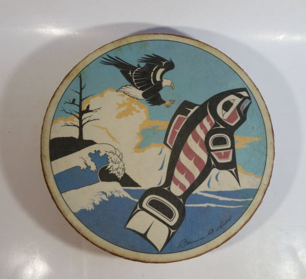 Clarence A. Wells Port Simpson, B.C. Aboriginal Art Eagle Trying To Catch Salmon  Jumping Salmon Deer Hide Rimmed Drum Print