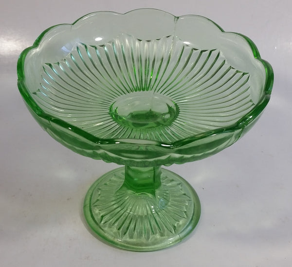 Vintage Green Depression Glass Pedestal Style Candy Dish