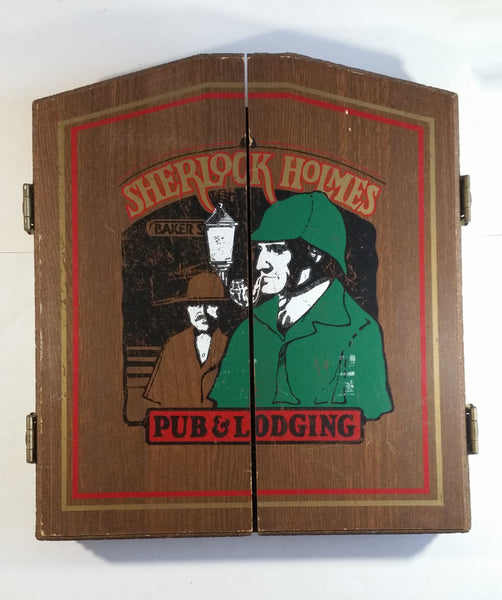 Rare Version Vintage Sherlock Holmes Pub & Lodging Baker St. Dovetail Wood Dart Cabinet and Kudu Board