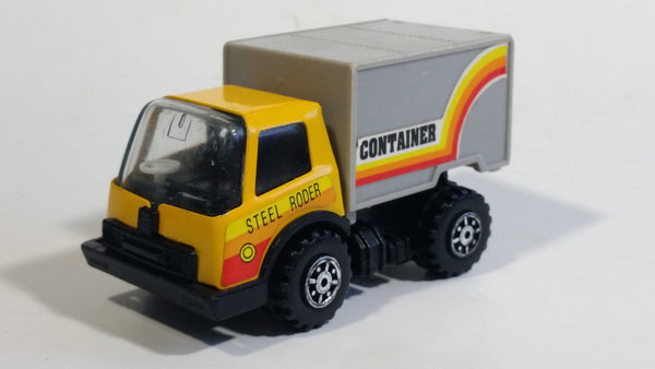 Vintage KY (Kai Yip) Steel Roder Yellow and Grey Container Truck Plastic and Pressed Steel Toy Car Vehicle