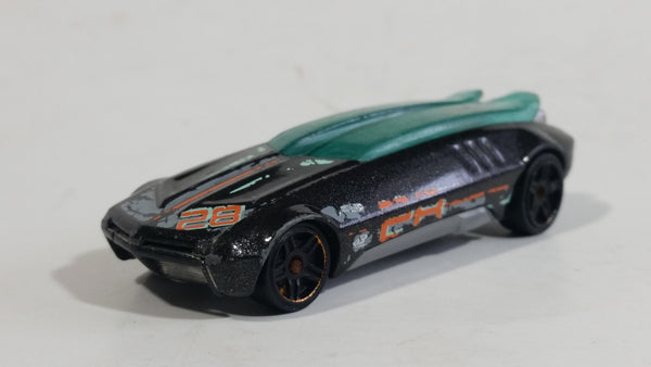 2014 Hot Wheels HW Race Thrill Racers Whip Creamer II Metalflake Black Die Cast Toy Car Vehicle w/ Sliding Canopy