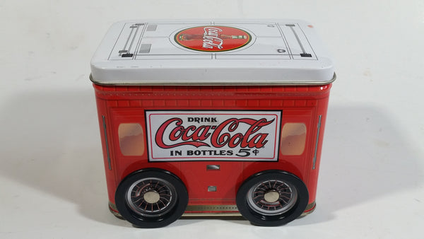 Drink Coca-Cola In Bottle 5 Cents Coke Trailer Shaped Tin Metal Container with Rolling Wheels