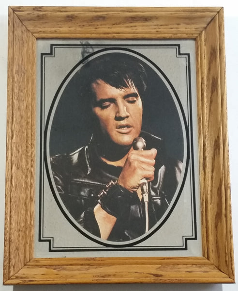 "Vintage Elvis Presley 11"" x 14"" Wood Framed Glass Mirror"