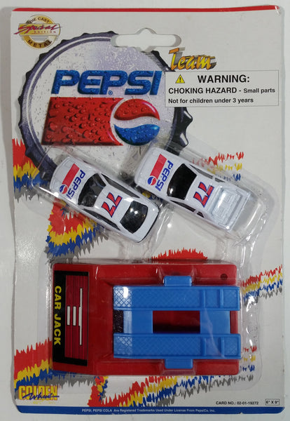 1990s Golden Wheel Special Edition Pepsi Team Racer #77 Die Cast Toy Car Vehicles and Car Jack Ramp Soda Pop Collectible New in Package