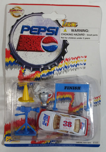 1990s Golden Wheel Special Edition Diet Pepsi Team Racer #38 Peter Comlia Die Cast Toy Race Car Vehicle with Trophy, Camera, Pylon, and Finish Line Soda Pop Collectible New in Package