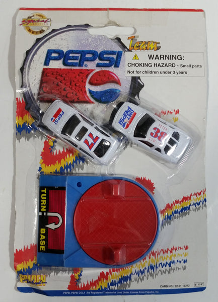 "1990s Golden Wheel Special Edition Pepsi & Diet Pepsi Team Racer #38 Peter Comlia & #77 Die Cast Toy Race Car Vehicles with Blue ""Turn Base"" Soda Pop Collectible New in Package"