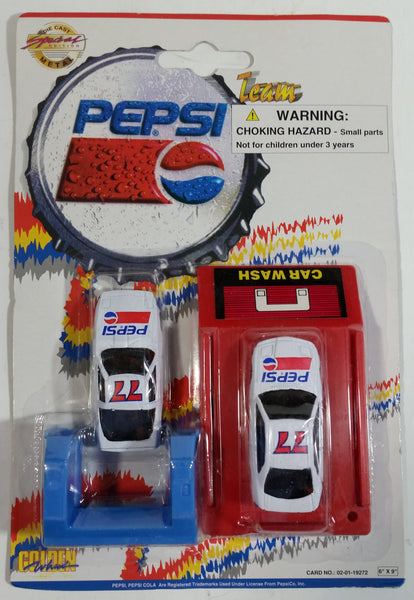 1990s Golden Wheel Special Edition Pepsi Team Racer #77 Die Cast Toy Car Vehicles and Car Wash Red Version Soda Pop Collectible New in Package