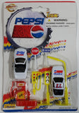 1990s Golden Wheel Special Edition Pepsi & Diet Pepsi Team Racer #77 Die Cast Toy Race Car Vehicles with Road Signs, Gas Pump, and Air Pump Soda Pop Collectible New in Package