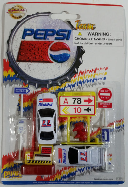 1990s Golden Wheel Special Edition Pepsi Team Racer #77 Die Cast Toy Race Car Vehicles with Airport Road Signs, Fire Hydrant, and Parking Gate Soda Pop Collectible New in Package
