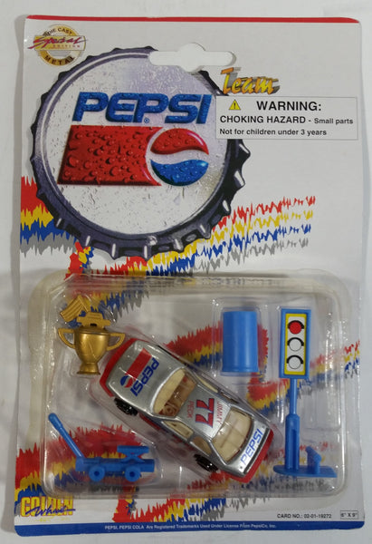 1990s Golden Wheel Special Edition Diet Pepsi Team Racer #77 Jimmy Peck Die Cast Toy Race Car Vehicle with Trophy, Car Jack, Blue Cone, and Traffic Light Soda Pop Collectible New in Package