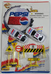 1990s Golden Wheel Special Edition Pepsi Team Racer #77 Die Cast Toy Race Car Vehicles with Road Signs Collectible New in Package