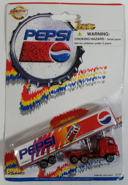 1990s Golden Wheel Special Edition Pepsi Team Racer Red Semi Truck Tractor Trailer Rig Die Cast Toy Car Vehicle Soda Pop Collectible New in Package