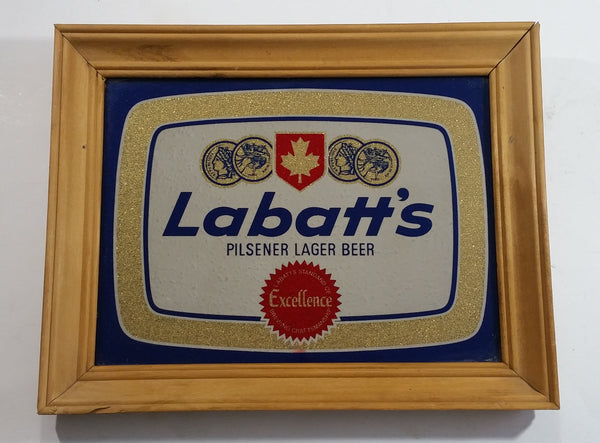 "Vintage Labatt's Pilsner Lager Beer 11"" x 14"" Wooden Framed Advertising Mirror Pub Lounge Bar Collectible"