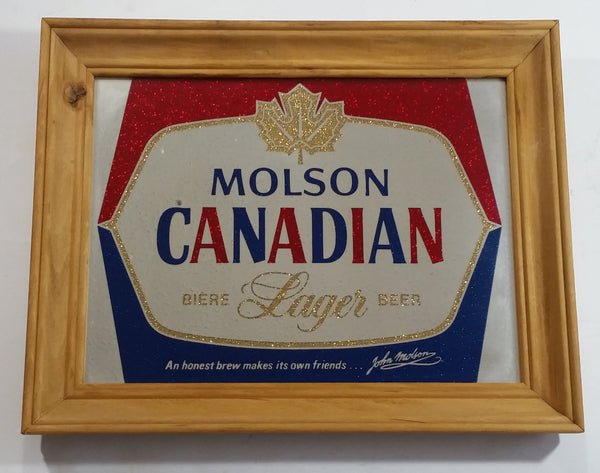 "Vintage Molson Canadian Lager Beer Biere 11"" x 14"" Wooden Framed Advertising Mirror Pub Lounge Bar Collectible"