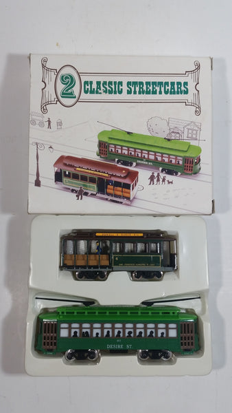 Two HO Classic San Francisco Streetcars Powell & Mason St Trolley and Desire Street Cable Car Die Cast and Plastic Models New in Box