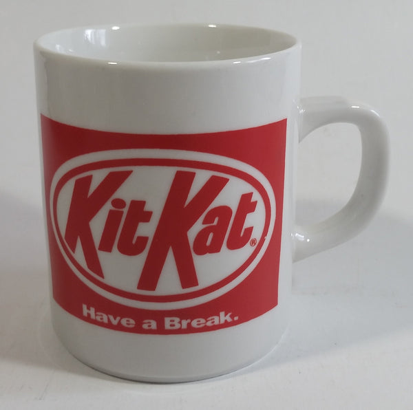"Kit Kat Chocolate Bar Candy Snack ""Have a Break"" ""Faites la pause Kit Kat"" White and Red Ceramic Coffee Mug Cup"