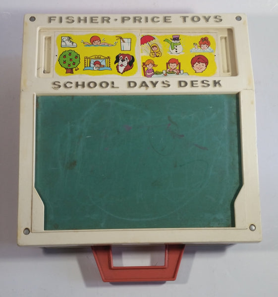 Vintage 1972 Fisher Price Toys 176 School Days Desk Magnetic Chalkboard Toy
