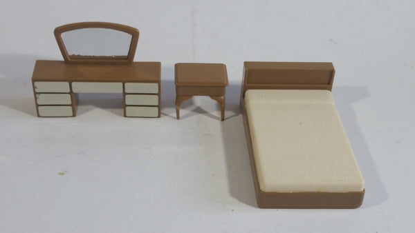 Vintage 1970s Arco Miss Merry's Plastic Doll Toys 3 Piece Bedroom Set of Bed, Vanity, and Night Stand - Made in Hong Kong
