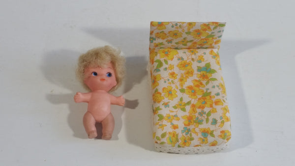 Vintage Doll Bed and Baby Plastic Toy Doll