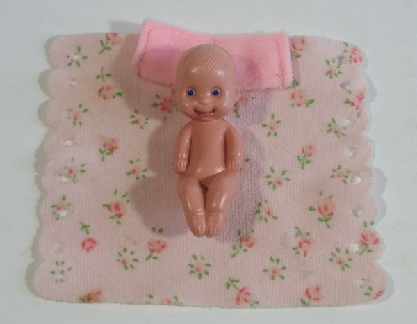 Vintage Doll Diaper Changing Blanket and Baby Plastic Toy Doll