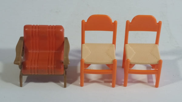 Vintage 1970s Arco Miss Merry's Plastic Doll Toys Dining Room and Patio Orange 3 Piece 2 Dining Chairs and 1 Patio Chair - Made in Hong Kong