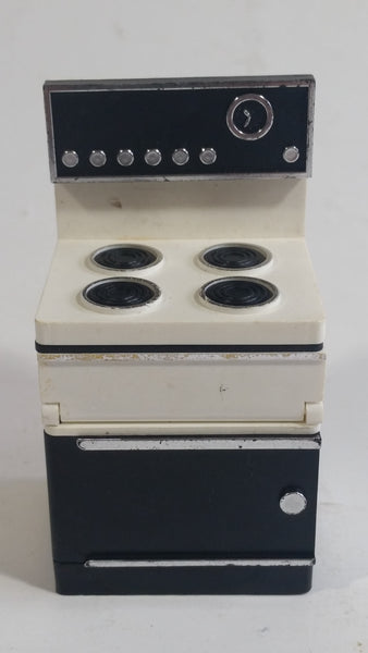 Vintage Black and White Plastic Doll Toys Kitchen Stove With Opening Doors - Made in Hong Kong