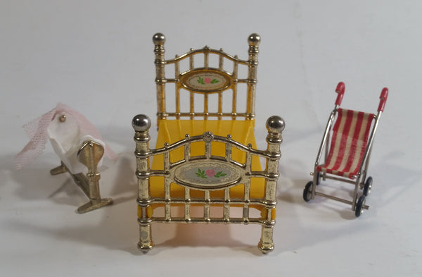 Vintage 1980 Mattel Doll House Decorative Metal and Brass Bed, Rocking Cradle with Pink Veil, and Red and White Striped Stroller Miniature