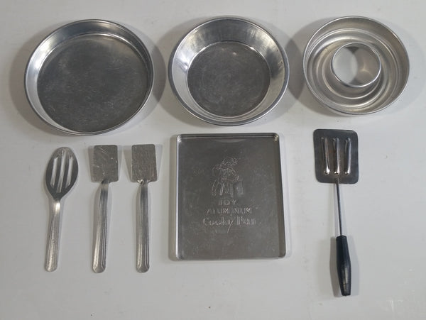 "Vintage Children's ""Cooky Pan"" Aluminum Baking Sheet with Accessories and Other Metal Trays"