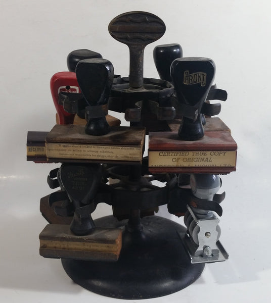 Antique 1905 Patent Cast Iron Double Level Carousel Rubber Stamp Holder with 12 Rubber Stamps