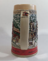 "1987 Budweiser Holiday Stein Collection Collector's Series ""The hitch parading through the familiar Anheuser-Busch Gates at Grant's Farm on a Brisk Wintery day."" Ceramic Beer Stein - Handcrafted in Brazil by Ceramarte"