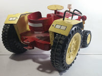 "Swaraj 855 Red and White Handmade Plaster Coated Wood and Metal Tractor 16 1/2"" Long Model Toy with Articulated Steering"