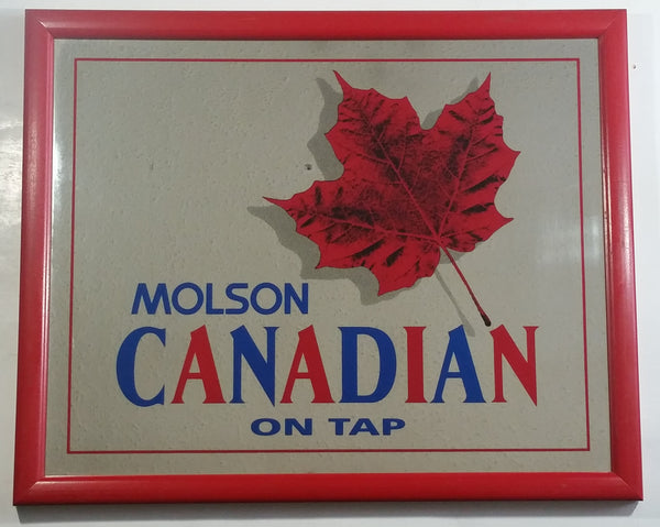 "Vintage Molson Canadian Beer On Tap 18"" x 22"" Red Wooden Framed Advertising Mirror Pub Lounge Bar Collectible"