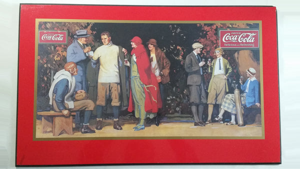 "Coca Cola Coke Soda Pop Winter Fall Football Sports Themed Delicious Refreshing 17"" x 28"" Large Hardboard Plaque Beverage Drink Collectible"