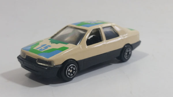 Yatming No. 815 Ford Sierra Sapphire #15 Cream White with Blue Green Die Cast Toy Car Vehicle