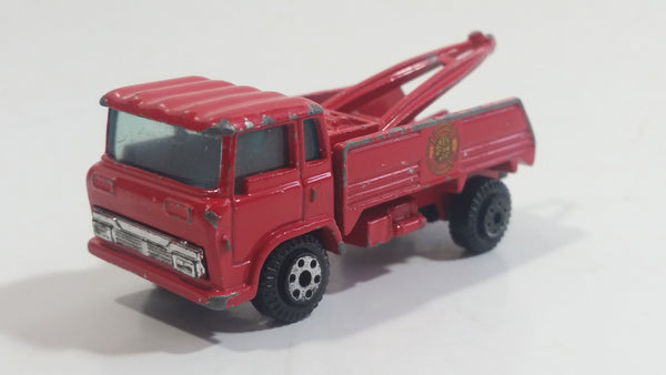 Yatming Wrecker Salvage Tow Truck Red Fire Department Die Cast Toy Car Wrecking Towing Vehicle