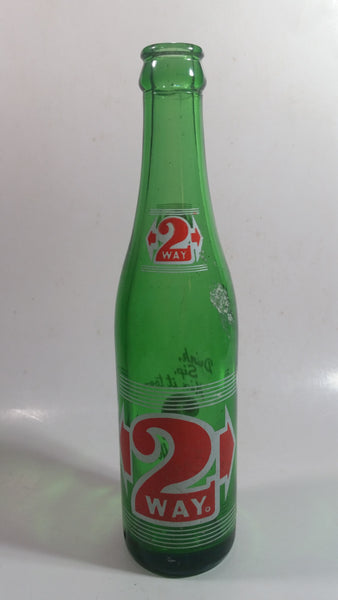 "Vintage 2 Way Soda Pop Beverage 9 1/2"" Tall Green Glass Soda Pop Beverage Bottle"